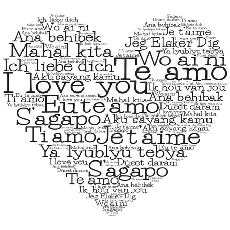 Love heart made from I love you in 15 different languages