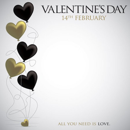 elegant white: Heart balloon Valentines Day card in vector format.