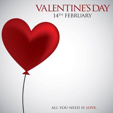 Corazón del globo tarjeta del día de San Valentín en formato vectorial.