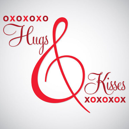 hugs and kisses: Elegant typographic Hugs & Kisses card in vector format.