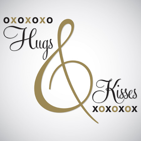 hugs: Elegant typographic Hugs & Kisses card in vector format.