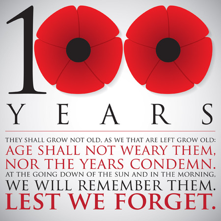 remembrance day poppy: Remembrance ANZAC Day 100 years card in vector format.