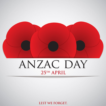 poppy flowers: ANZAC (Australia New Zealand Army Corps) Day card in vector format.