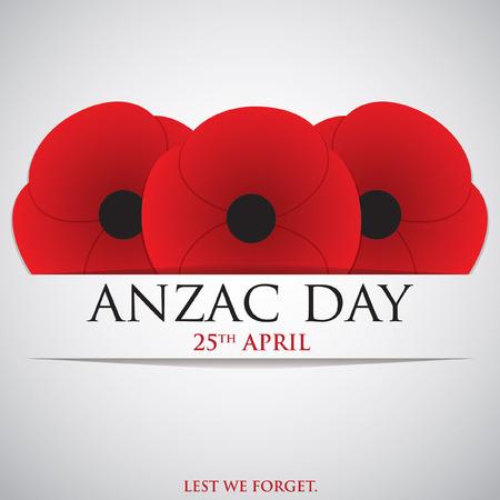 amapola: Tarjeta de ANZAC (Cuerpo Australia Nueva Zelanda Ejército) Día en formato vectorial.
