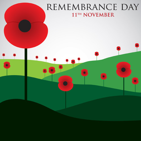 Remembrance Day card in vector format. Çizim