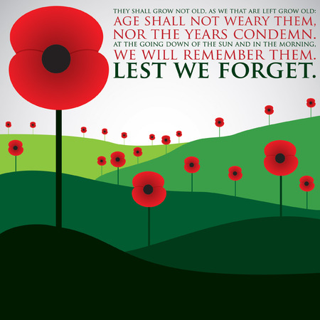 poppy flowers: Remembrance Day card in vector format. Illustration