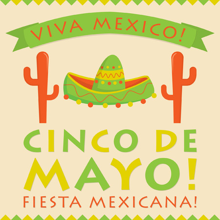 5th: Retro style Cinco De Mayo (5th of May) card in vector format. Illustration
