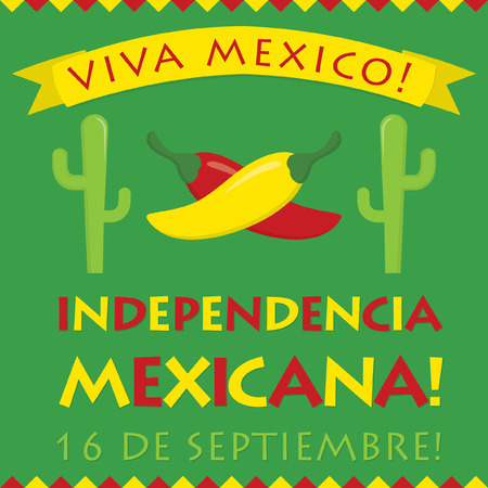 mexicana: Retro style Independencia Mexicana (Mexican Independence Day) card in vector format.