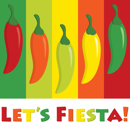 lets party: Lets Fiesta! (Lets Party) chilli pepper card in vector format.