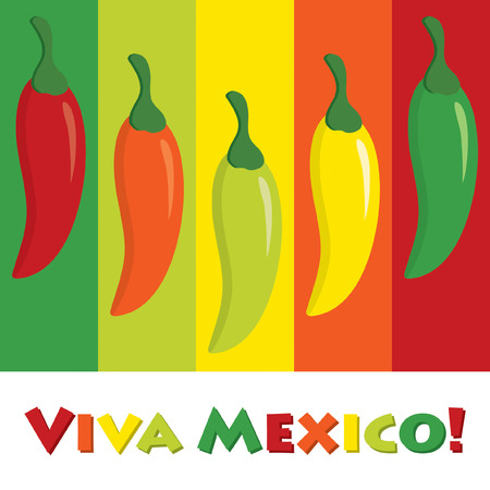 long live: Viva Mexico! (Long live Mexico) chilli pepper card in vector format.