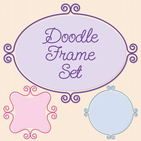 doodle frame: Curly doodle frame set in vector format.