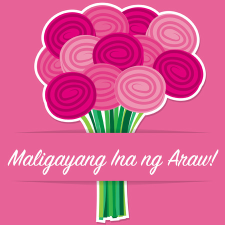 filipino: Tagalog rose Mothers Day card in vector format.