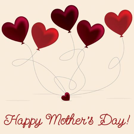 Heart balloon Mother's Day card in vector format. Vetores