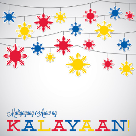 pinoy: String Philippine Independence Day card in vector format. Illustration