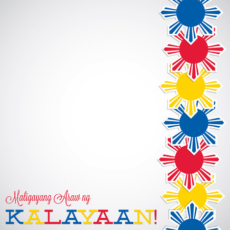 pinoy: Line Philippine Independence Day card in vector format. Illustration