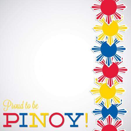 filipino: Line Philippine Independence Day card in vector format. Illustration