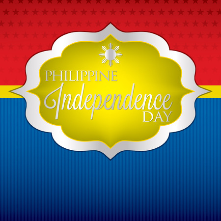 filipino: Elegant label Philippine Independence Day card in vector format.