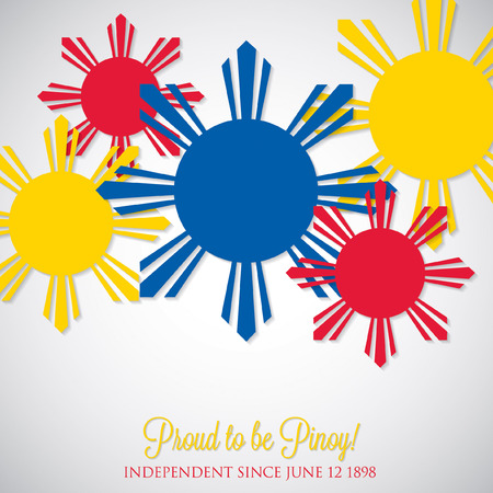 filipino: Overlay Philippine Independence Day card in vector format. Illustration