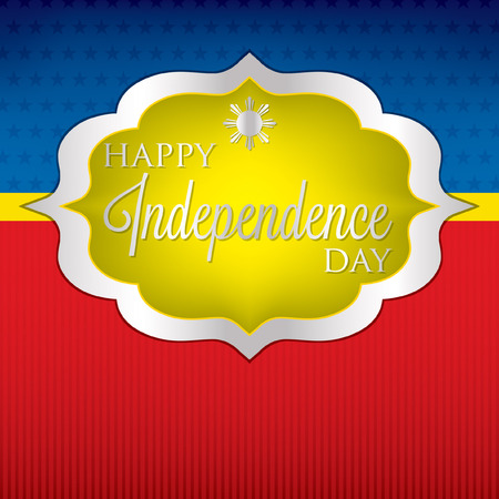 pinoy: Elegant label Philippine Independence Day card in vector format.