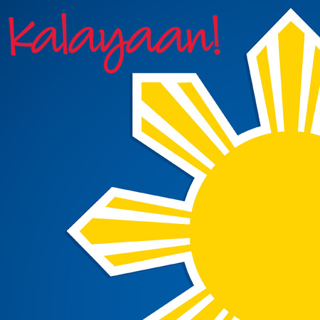 filipino: Cut out Philippine Independence Day card in vector format. Illustration