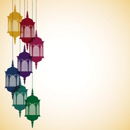 tarjeta de linterna marroquí en formato vectorial.