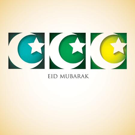 blessed: Crescent moon Eid Mubarak (Blessed Eid) card in vector format. Illustration