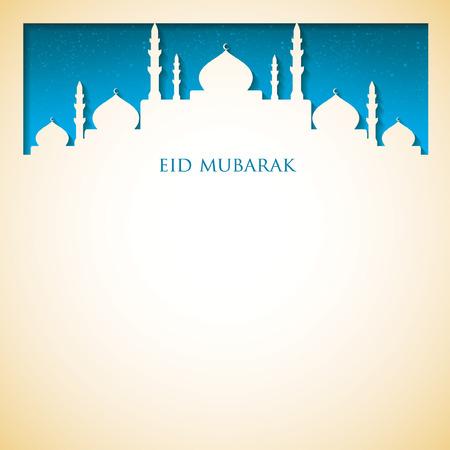 "Mosque ""Eid Mubarak"" (Blessed Eid) card in vector format."