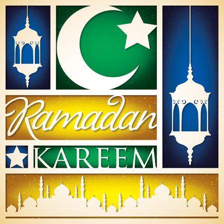"""generous: Papel cortado """"Ramadan Kareem"""" tarjeta (generoso Ramadán) en formato vectorial."""