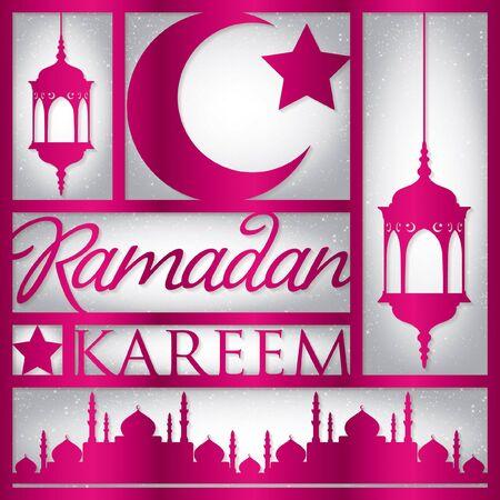 """generoso: Papel cortado """"Ramadan Kareem"""" tarjeta (generoso Ramadán) en formato vectorial."""