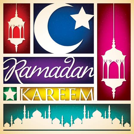 mohammad: Paper cut out Ramadan Kareem (Generous Ramadan) card in vector format.