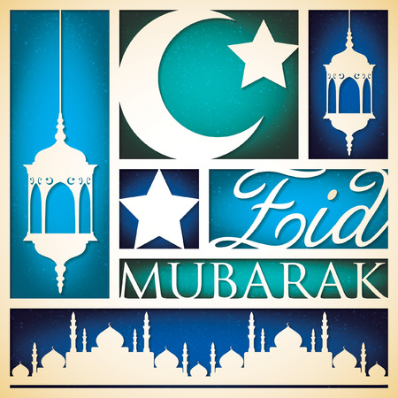 'cut out': Paper cut out Eid Mubarak (Blessed Eid) card in vector format.