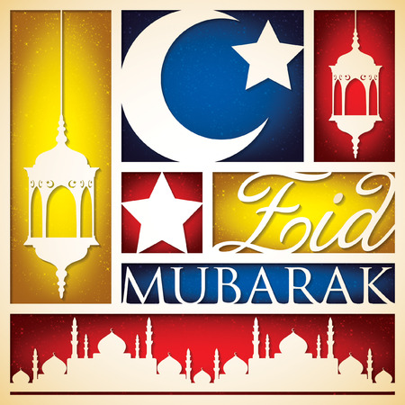 mohammad: Paper cut out Eid Mubarak (Blessed Eid) card in vector format.