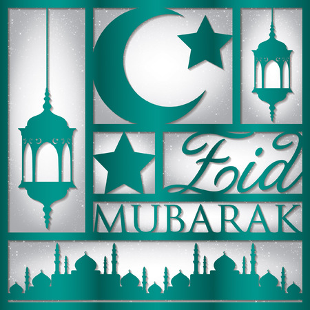 paper cut out: Paper cut out Eid Mubarak (Blessed Eid) card in vector format.