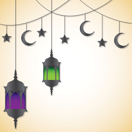 mohammad: Moroccan lantern card in vector format.