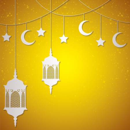 gold souk: Moroccan lantern card in vector format.