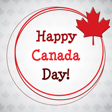 Circle Canada Day maple leaf card in vector format. Illustration