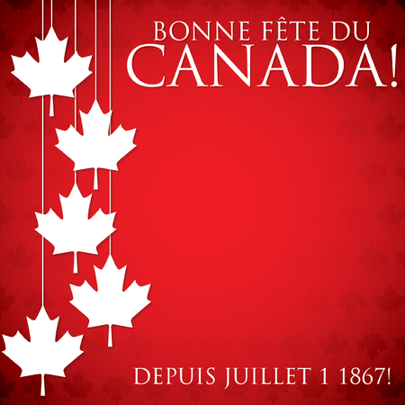 canada day: Hanging maple leaf Canada Day card in vector format.