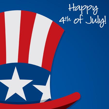 sam: Uncle Sam hat Independence Day card in vector format. Illustration