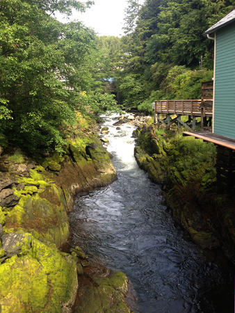 brothel: Scene of historical Creek Street, Ketchikan Alaska.
