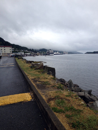 city park boat house: View of waterfront in Ketchikan Alaska. Stock Photo