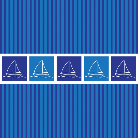 navy pier: Hand drawn sailing boat pattern in vector format.