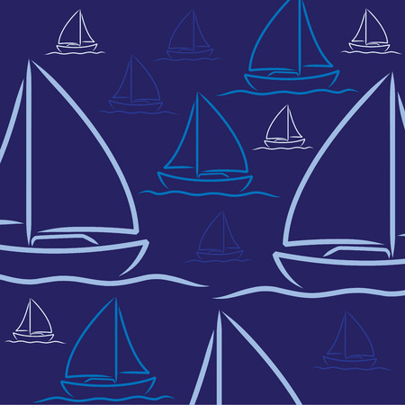 starboard: Hand drawn sailing boat pattern in vector format.