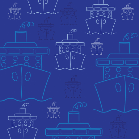 Hand drawn cruise ship in vector format.