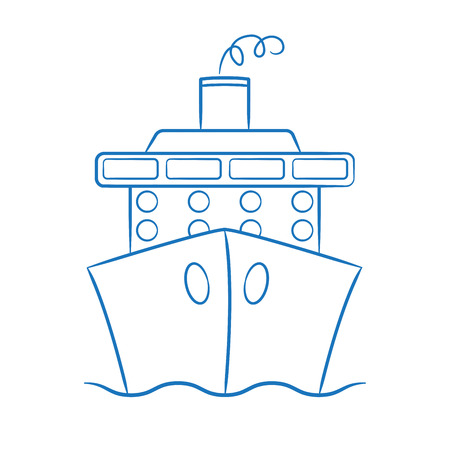 hull: Hand drawn cruise ship in vector format.