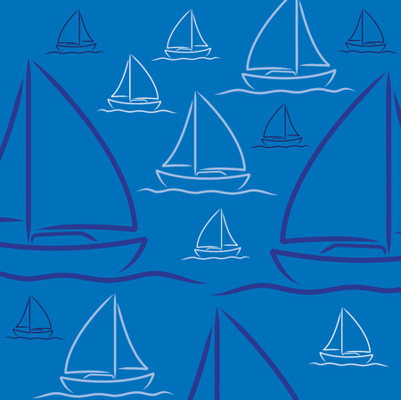 Hand drawn sailing boat pattern in vector format.