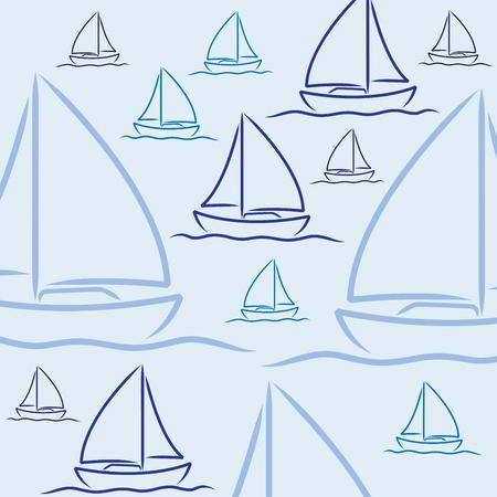 A mano a vela disegnato modello barca in formato vettoriale. Vettoriali