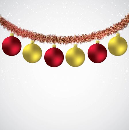Christmas bauble and tinsel starry background in vector format.
