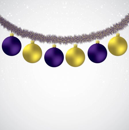 mauve: Christmas bauble and tinsel starry background in vector format.