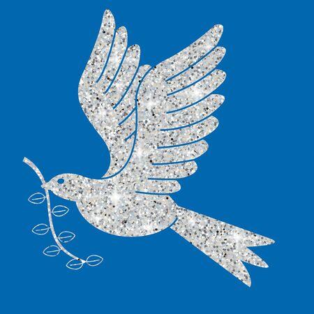 Glitter simple Christmas dove in vector format. Illustration