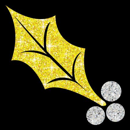 Glitter simple holly leaf in vector format. Illustration